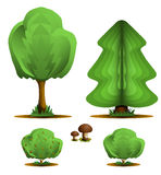 Tree, firtree, shrub, mushroom - set forest plants. Illustration on white background Royalty Free Stock Photos