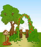 Tree and flower background with fence. Vector. Vector tree and flower background. Illustration cartoon Stock Image