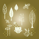 Tree,flower and insect paper-cut Royalty Free Stock Photo