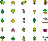 Tree, flower and plant icons Stock Photo