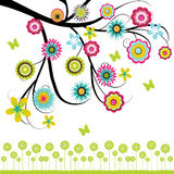 Tree with flowers. Colorful tree with flowers illustration background Royalty Free Stock Images