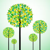 Tree with flowers. Illustration of green tree with flowers Royalty Free Stock Photos