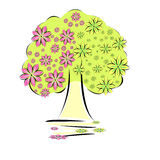 Tree with flowers. Illustration with tree and flowers Stock Images
