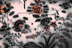 The Tree and Flowers Art paintings isolated black and white on the tiles pattern wall along the galleries of the Temple royalty free stock photos