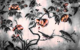 The Tree and Flowers Art paintings isolated black and white on the tiles pattern wall along the galleries of the Temple stock photos
