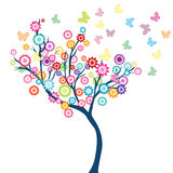 Tree with flowers and butterflies Royalty Free Stock Image