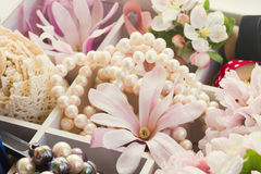 Tree  flowers with pearls and lace Royalty Free Stock Photography