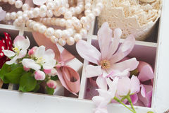 Tree  flowers with pearls and lace Stock Photo