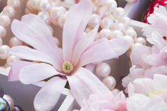 Tree  flowers with pearls and lace Royalty Free Stock Images