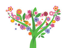 Tree with flowers - Vector image. Three with many beautiful colored flowers and leaves Stock Photography