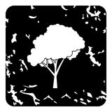 Tree with fluffy crown icon, grunge style Stock Images