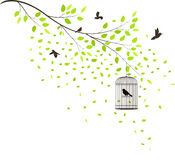 Tree with flying birds Royalty Free Stock Image