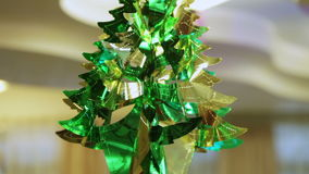 Tree from foil. Hanging under ceiling shiny foil tree stock footage