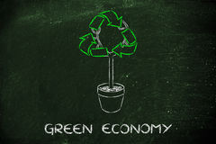 Tree with foliage in shape of recycle symbol. Green economy and sustainability: tree with recycle symbol Stock Photos