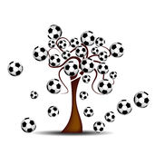Tree with footballs. Abstract background with tree and footballs Royalty Free Stock Photo