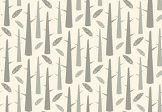 Tree forest with feathers, seamless pattern Stock Photo