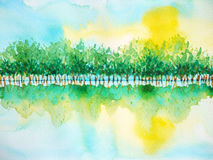 Tree forest reflex water sunny sky, watercolor painting Royalty Free Stock Photos