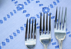 Tree forks. Over blue and white background Stock Photos