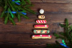 Tree in the form of cakes. The concept of Christmas. And New Year royalty free stock photo