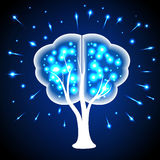 Tree in the form of human brains, thoughts shining points. Royalty Free Stock Photos
