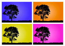 Tree into four colors stock images