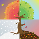 Tree four Saesons icon great for any use. Vector EPS10. Royalty Free Stock Image