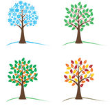 Tree in four seasons - spring, summer, autumn, winter Stock Photography