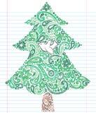 tree för hand för jul klotter tecknad sketchy Arkivbilder