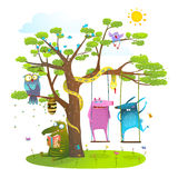 Tree friends animals birds monsters bees in sunny summer nature kids cartoon Stock Photography