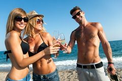 Tree friends making a toast on the beach. Stock Image