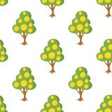 Tree with Fruits Flat Icon Seamless Pattern Stock Photos