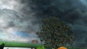 Tree between fruits over frozen water and dark tornado stock footage