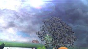 Tree between fruits over frozen water  and tornado stock video