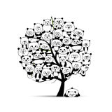 Tree with funny pandas, sketch for your design Stock Photo
