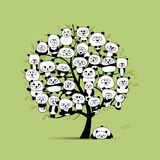 Tree with funny pandas, sketch for your design Stock Images