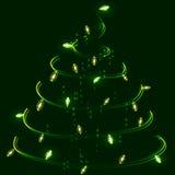 Tree, garland, lights Stock Photo