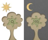 Tree generated oxygen and carbon-dioxide Stock Photos