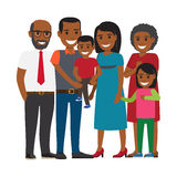 Tree Generations of Family Together Flat Vector. Tree generations of family together. African american boy and girl with their parents and grandparents isolated Royalty Free Stock Photos