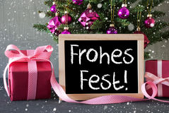 Tree With Gifts, Snowflakes, Frohes Fest Means Merry Christmas Stock Photo