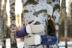 Tree girl hiding hands Royalty Free Stock Photo
