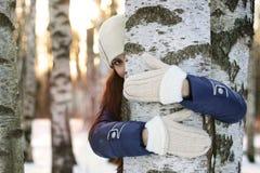 Tree girl hiding hands Royalty Free Stock Image