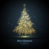 Tree of Glittering Golden Stars Stock Photography