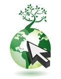 Tree on a globe with an arrow illustration. Design on white Royalty Free Stock Photos