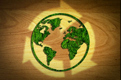 Tree globe cut of Reuse, Reduce, Recycle. Concept on green grass royalty free illustration