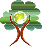 Tree globe man logo Royalty Free Stock Photos