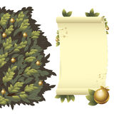 Tree with golden apples and scroll Stock Image
