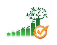 tree graph and check mark cycle illustration Stock Photo