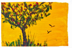 Tree and grass drawing gouache. Royalty Free Stock Photos