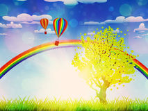 Tree on grass field. Green grass field with a tree, rainbow and hot air balloons in the sky Stock Image