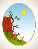 Tree, grass and wall. Vector background Stock Photo